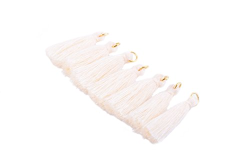 - KONMAY 50PCS 1.4''(3.5cm) Soft Handmade Silky Tiny Craft Tassels With Golden Jump Ring for DIY Projects (Cream)