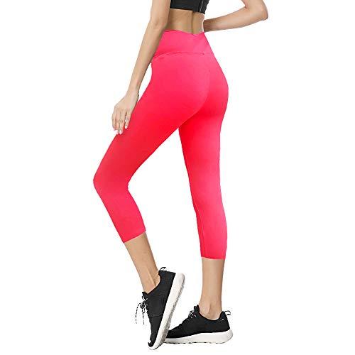 (TNNZEET High Waisted Tummy Control Soft Plus Size & One Size Capri Leggings Elastic Opaque Slim)