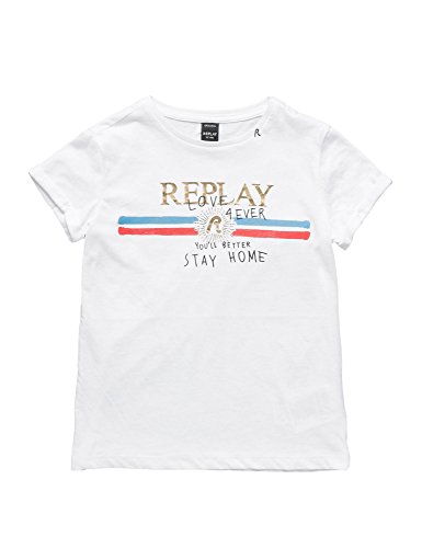 Replay Printed Cotton Girl's Jersey White T-Shirt In Size 12 Years White by Replay
