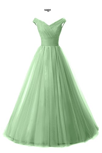 Formal Shoulder Tulle Sage Long Evening Line Prom Chupeng Gown Homecoming Dress Off q48pww6