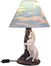 """Ebros Gift Enchanted Lights Rearing Mystical Rare White Unicorn Sculptural Desktop Table Lamp with Cloudy Sky Printed Shade 19""""Tall As Fantasy Home Decor of Unicorns Magic Elixir of Youth Theme"""