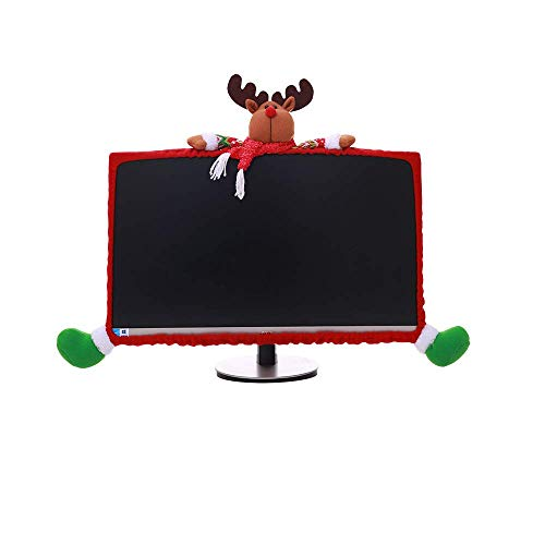 Mehome Computer Monitor Cover Elastic Computer Case Christmas Cartoon Decorations for Home Office Photography Christmas New Year Gift (David's Deer)