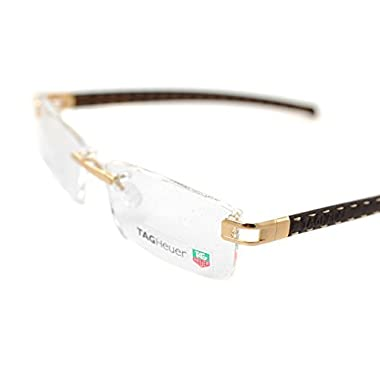 909a41bd6c08 Tag Heuer Calfskin TH0153 003 58 mm L-TYPE Handmade Gold Brown Frame  Eyeglasses Rimless