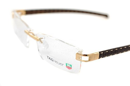 df6b325d93ba Tag Heuer Calfskin TH0153 003 58 mm L-TYPE Handmade Gold Brown Frame Eyeglasses  Rimless