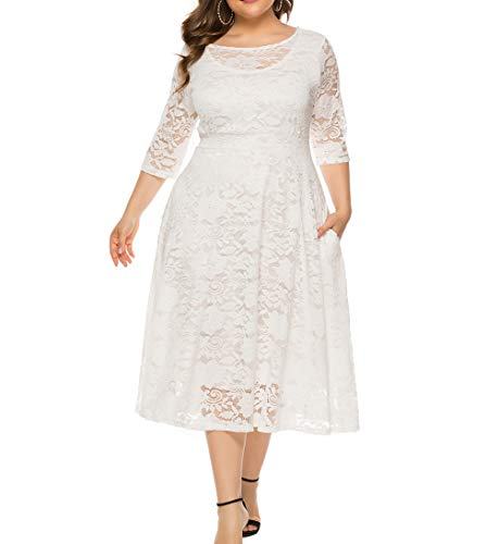 Eternatastic Womens Scooped Neckline Floral lace Top Plus Size Cocktail Party Midi Dress 3XL White