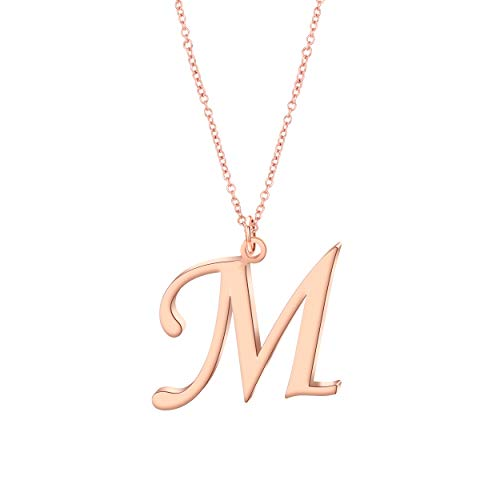 acb9bfc4019a CHOROY Script Rose Gold Initial Necklace 26 Alphabet Letter Pendant Necklace  Name Necklace for Women Girls