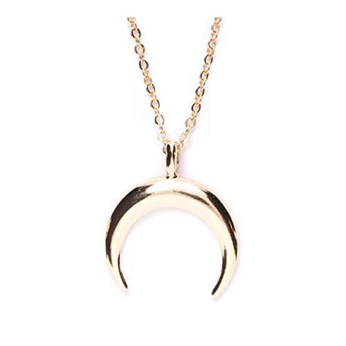 Happiness Boutique Damas Collar Media Luna en Color Oro | Collar Colgante Cuerno Delicado Joyería de Acero Inoxidable a buen precio