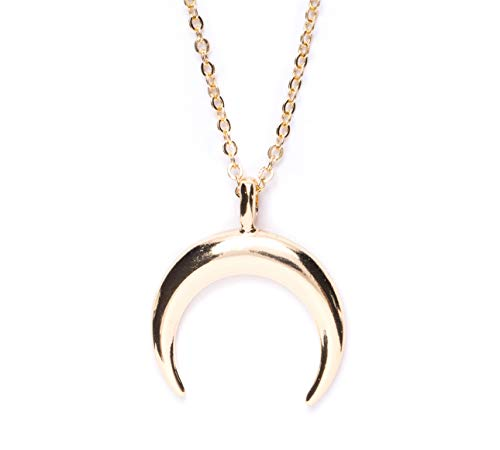Happiness Boutique Half Moon Necklace in Gold Color | Delicate Minimalist Necklace Horn Pendant Stainless Steel Jewelry