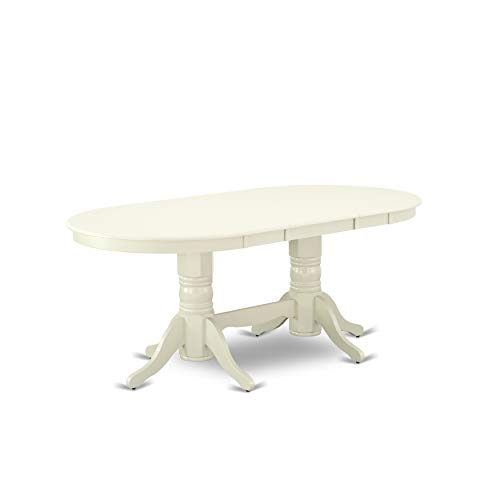 "VAT-LWH-TP Vancouver Oval Double Pedestal dining room Table with 17"" Butterfly Leaf in Linen White Finish"