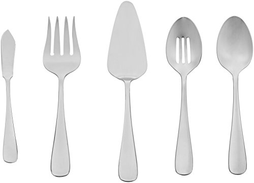 AmazonBasics 5-Piece Stainless Steel Serving Utensil Set with Round Edge