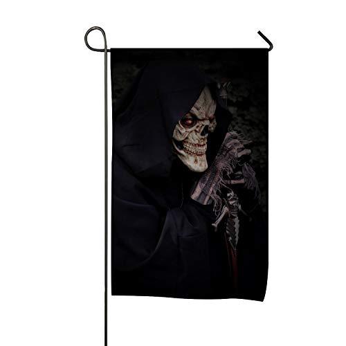 Decorative Mantle Hood - azfvv Skull Skeleton Hood Mantle Halloween Garden Flag Home Decorative Outdoor Double Sided