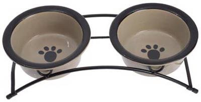 (Petrageous Designs 44339 2-Bowl Pet Feeder With Stand, Taupe - Quantity 3)