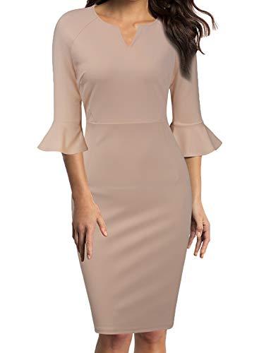 WOOSUNZE Womens Flounce Bell Sleeve Office Work Casual Pencil Dress Apricot