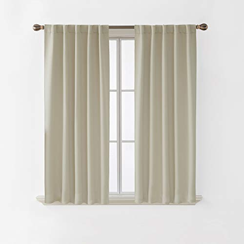 Deconovo Blackout Curtains Back Tab and Rod Pocket Room Darkening Thermal Insulated Curtain Panels for Bedroom 38x63 Inch Light Beige 2 Panels (Back Curtain Tab)