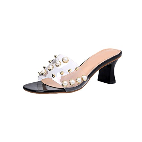 Rivet Slip Women Sandals Slippers with on Casual Heel Jitong Toe Beaded for Black Open Block wq4IxaOC