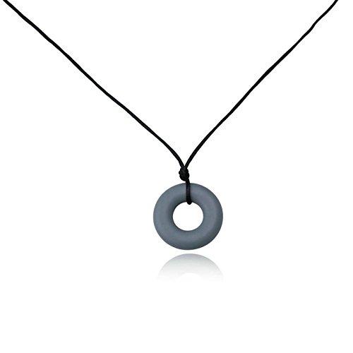 Epinki BPA Free Chew Beads Nursing Necklace Baby Teething Necklace Round Grey Chew Necklace 80CM