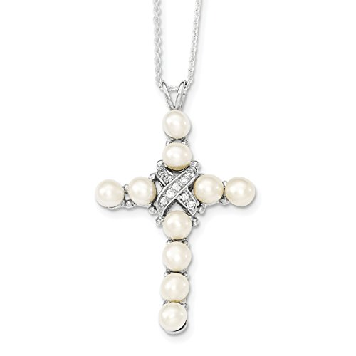 - ICE CARATS 925 Sterling Silver Cubic Zirconia Cz Freshwater Cultured Pearl Cross Religious Chain Necklace Pendant Charm Fine Jewelry Ideal Gifts For Women Gift Set From Heart