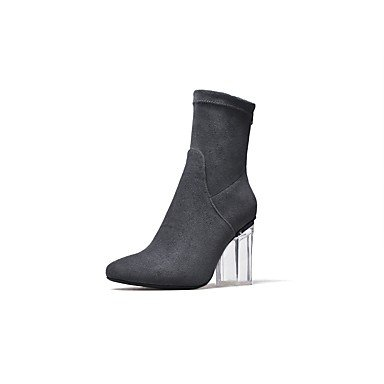 Women'S Boots Shoes Calf Boots Boots For Heel Zipper Mid UK3 Evening Round Heel amp;Amp; EU35 Suede RTRY Fall Dress Party Crystal Toe Fashion US5 Spring CN34 Chunky Aqdxqfa