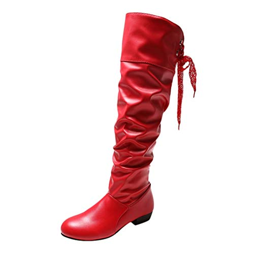 Aunimeifly Ladies Stylish Wild Solid Color Wedge High Booties Women's Warm Knee Elastic Long Boots(US:9.5-10,Red)