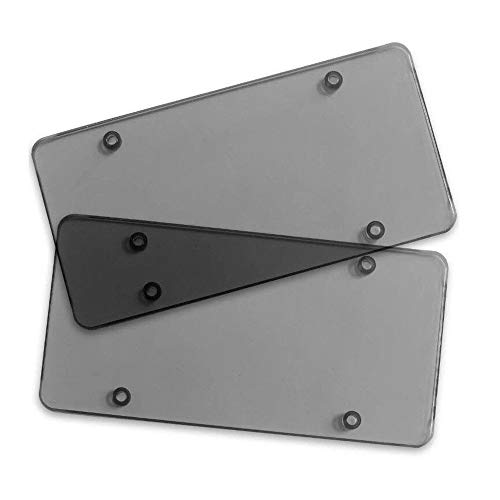 MiLanNuo 2X Smoked Flat License Plate Cover Shield Tinted Plastic Tag Protector ()