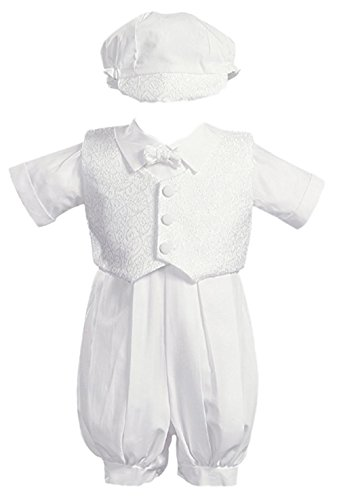Lito Boy Christening Outfit - Lito Baby Boys Allen Poly Cotton Christening Romper with Vest (12-18 Months)