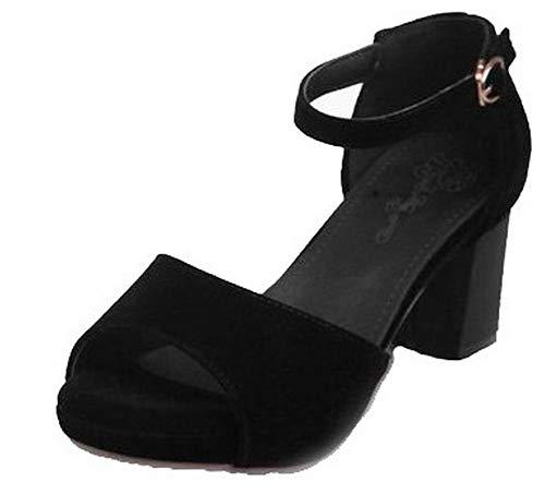 Boucle Sandales Mélangées Noir Correct TSFLH008134 à Couleurs Talon Femme AalarDom xwqU1HYW0