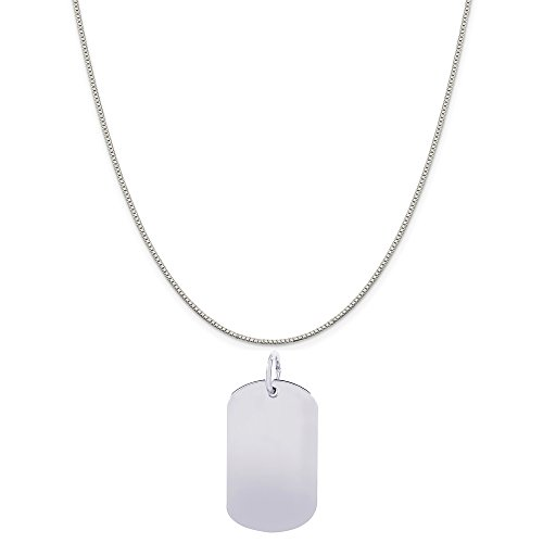 Rembrandt Charms 14K White Gold Dog Tag Accent Charm on a 14K White Gold Box Chain Necklace, 20