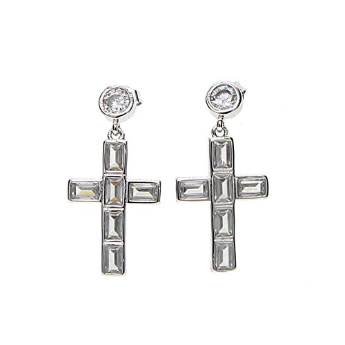 - Cross Earring Dangle Cross Baguette Cross Charm Cross Elegant Women Fashion Jewelry Earring (Gold-Color)