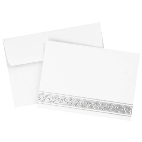 Great Papers! Silver Filigree Note Card and Envelope - 4.875