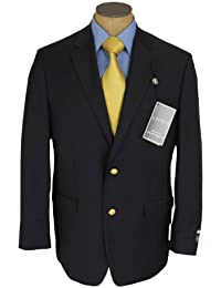 Mens Single Breasted 2 Button Navy Blue Wool Blazer Sport Coat Jacket
