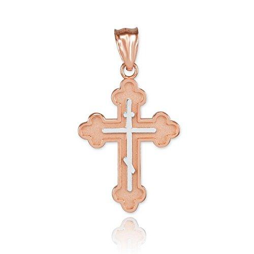 Petits Merveilles D'amour - 14 ct 585/1000 - Deux Tonnes Or Rose orthodoxe Croix-Charm-suspendus