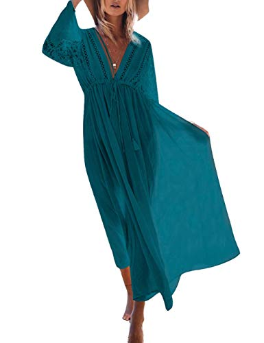 Bikini Cover up Women Boho Beach Wears for Summer Holiday Vocation Blue (one size, 5164-2) ()