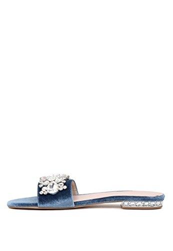 London Rag Women's Blue Open Toe Slipons Flat Sandals CGnJD7l