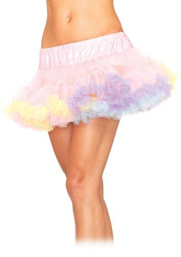 Leg Avenue Women's Mini Tulle Rainbow Trimmed Petticoat Dress, Multicolor, One Size