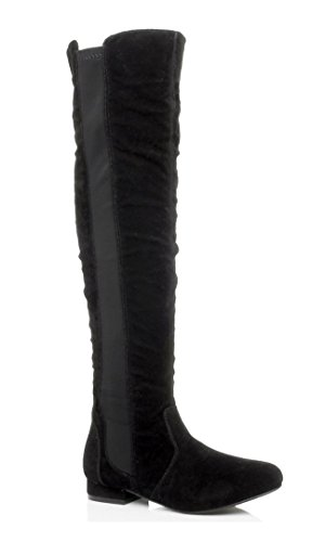 Ajvani Womens ladies low heel flat over the knee elastic stretch zip riding boots size Black Suede