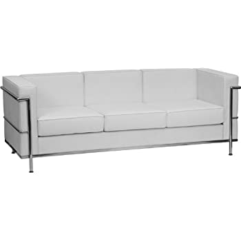 Delicieux Flash Furniture HERCULES Regal Series Contemporary Melrose White Leather  Sofa With Encasing Frame