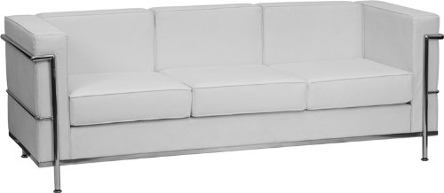 Flash Furniture HERCULES Regal Series Contemporary Melrose White Leather Sofa with Encasing - Traditional Sofa Office