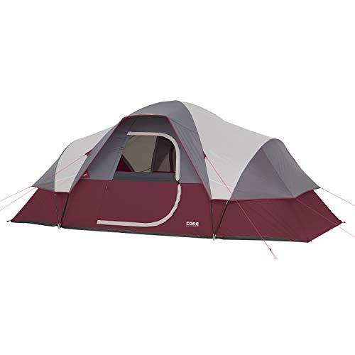 CORE 9 Person Extended Dome Tent (Wine) ()