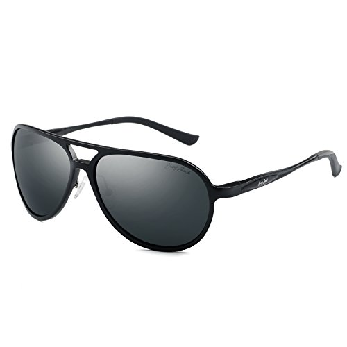 GREY JACK Polarized Sports Sunglasses Al-Mg Alloy Aviator for Men Women Black Frame Black Lens -