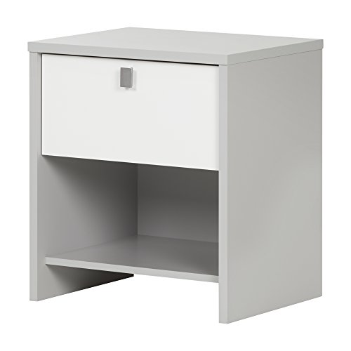 South Shore 10513 Cookie 1-Drawer Nightstand, Soft Gray & Pure White
