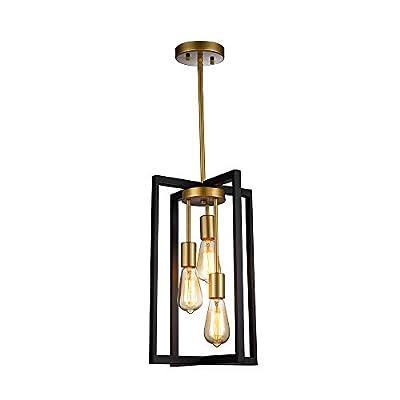 JINZO 3-Light Rectangle Chandelier Black and Gold Farmhouse Pendant Lighting with Rustic Style Industiral Metallic Pendant Lighting Modern Linear Metal Hanging Pendant Light Fixture