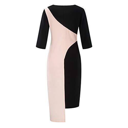 ea08459e1077 kemilove Women's Vintage Slim Solid Color Panel Dress Cocktail Dress Pink