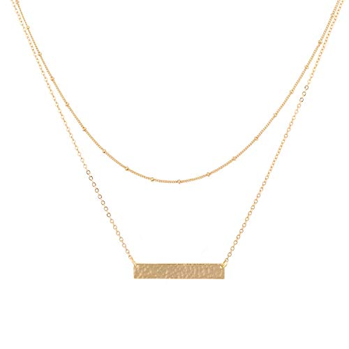(Mevecco Gold Layered Bar Necklace for Women,14K Gold Plated Cute Balance Horizontal Charm Satellite Bead Chain Necklace for Teen Girls)