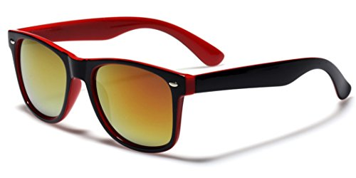 Classic Retro Fashion 2 Tone Sunglasses w/Color Mirror Lens Red