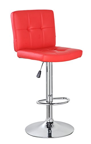 Anji Modern Furniture Contemporary Swivel Adjustable Height Leather Bar stool with Backs, Bar Chair, Red