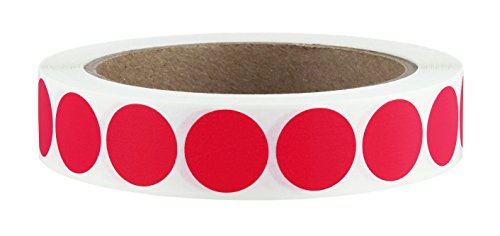 "3/4"" Red Color Code Dot Labels on Cores - Permanent Adhesive, 0.75 inch - 1,000/Roll"