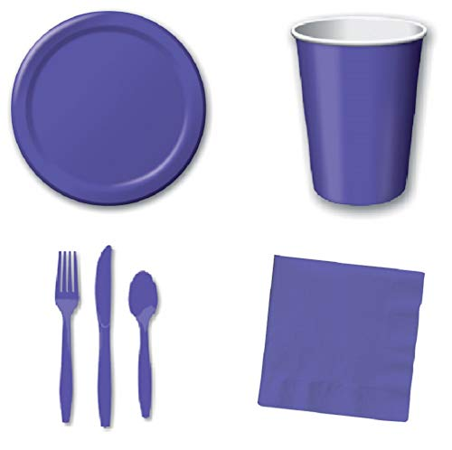 Luncheon Knife - 196 Pcs Purple Disposable Party Supplies Set | 6.7