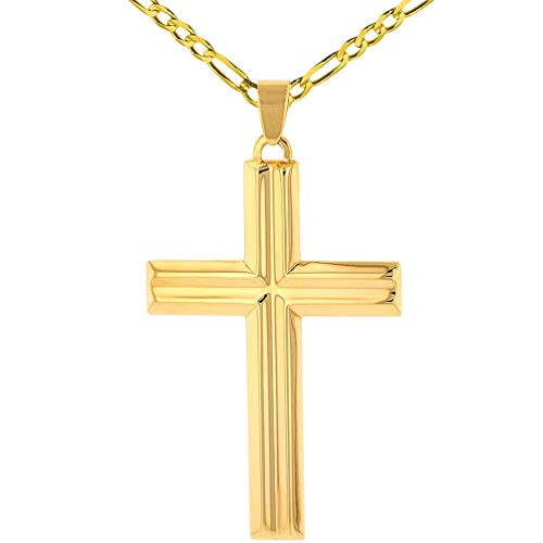 (14k Yellow Gold Crucifix Large Religious Plain Cross Pendant with Figaro Chain Necklace, 20