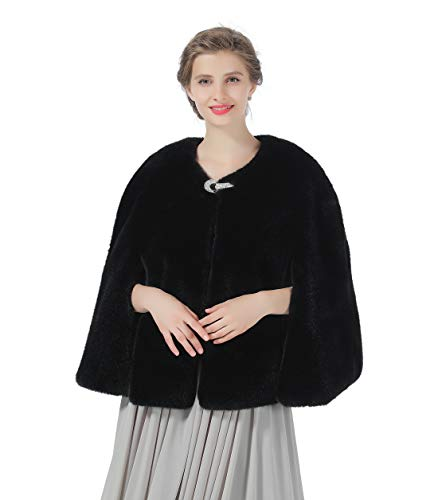 Faux Fur Jacket Shawl Wedding Coat Bridal Stole Winter Cape Women Cover Up Shrug Black