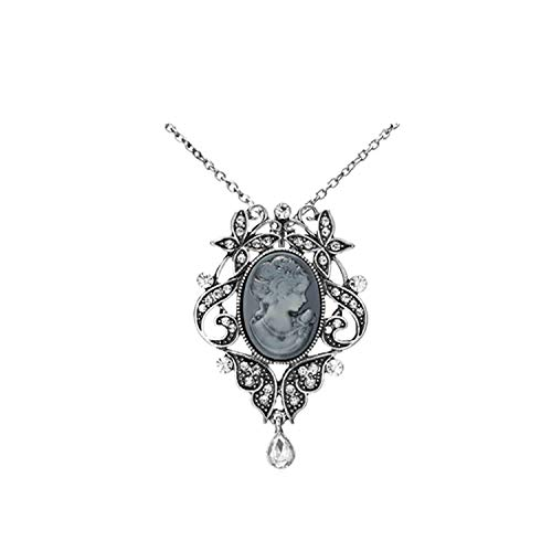 xinchengquzhihao Necklaces Pendants Jewelry for Women Vintage Cameo Queen Flower Beauty Head Crystal Pendant,1